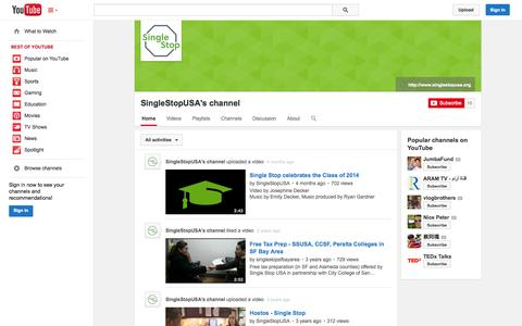 Screenshot of YouTube Page youtube.com - SingleStopUSA's channel  - YouTube - captured Oct. 26, 2014