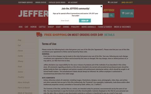 Screenshot of Terms Page jefferspet.com - Terms of Use | Jeffers Pet - captured Nov. 19, 2016