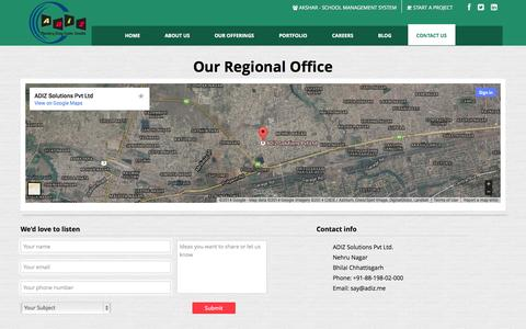 Screenshot of Contact Page adiz.me - ADIZ Solutions Pvt. Ltd. - captured Oct. 4, 2014