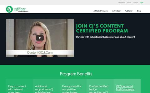 Screenshot of Landing Page cj.com - Content Certified Program Qualification | CJ Affiliate by Conversant (formerly Commission Junction) - captured Jan. 3, 2017