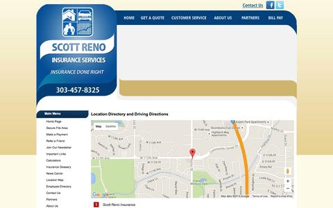 Screenshot of Locations Page scottreno.com - Scott Reno Insurance Services Locations and Driving Directions - captured Feb. 4, 2016