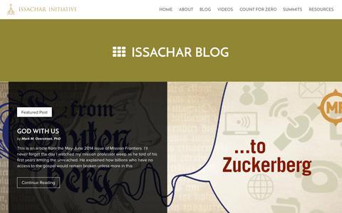 Screenshot of Blog issacharinitiative.org - Blog | Issachar Initiative - captured Sept. 30, 2014