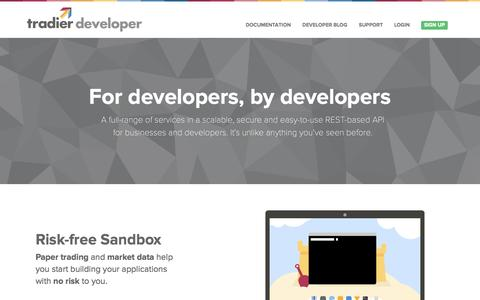 Screenshot of Developers Page tradier.com - Tradier Developer | Developer - captured Sept. 17, 2014