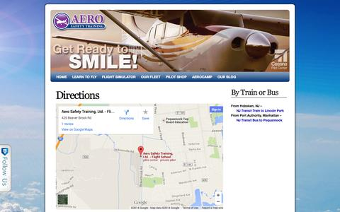 Screenshot of Maps & Directions Page lpawings.com - Directions - New Jersey's Best Flight School - captured Oct. 4, 2014