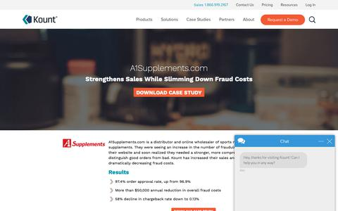 Screenshot of Case Studies Page kount.com - Ecommerce Fraud Prevention Case Study: A1Supplements.com | Kount - captured June 10, 2019