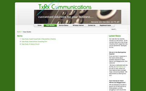 Screenshot of Case Studies Page txrxcomms.co.uk - Items - captured Oct. 7, 2014