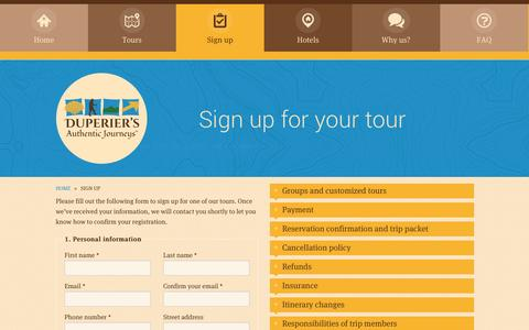 Screenshot of Signup Page authentic-journeys.com - Sign up for your tour | Duperier's Authentic Journeys - Camino of Santiago Walking Tours - captured Oct. 27, 2014