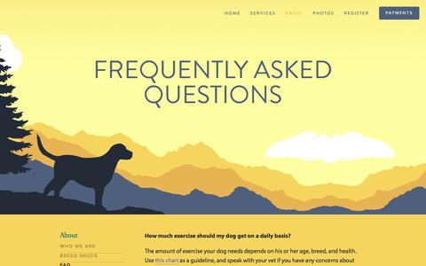 Screenshot of FAQ Page dogadventuresnw.com - FAQ — Dog Adventures Northwest - captured Oct. 12, 2017