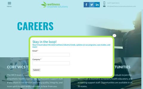 Screenshot of Jobs Page wellnesscorporatesolutions.com - Wellness Corporate Solutions Careers - Join Our Team - captured April 16, 2019