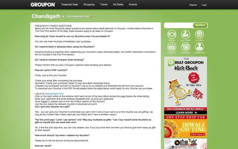 Screenshot of FAQ Page groupon.co.in - Best deals in Delhi, Bangalore, Mumbai, Kolkata on gadgets, travel, restaurants, spas, wellness, fitness - captured Sept. 19, 2014