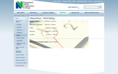 Screenshot of Hours Page nv.edu - NVCC | Naugatuck Valley Community College > Academics > Library > About Your Library > Hours - captured Sept. 23, 2014