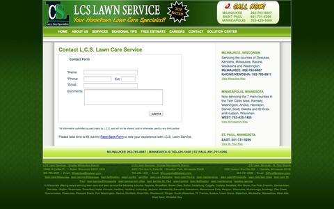 Screenshot of Contact Page lcslawn.com - Contact L.C.S. Lawn Service - Milwaukee Lawn Service, Saint Paul Lawn Service, Minneapolis Lawn Service - captured Oct. 1, 2014
