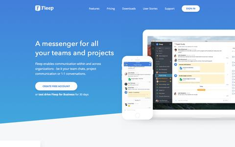 Screenshot of Home Page fleep.io - Fleep - A messenger for all your teams and projects - captured Sept. 28, 2017