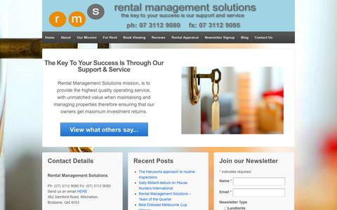 Screenshot of Home Page rentalmanagementsolutions.com.au - Rental Management Solutions - Brisbane Rental Management - Property Management - Property Management Services in Brisbane. - captured Oct. 7, 2014