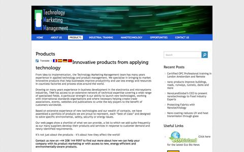Screenshot of Products Page tmm.eu.com - products to help improve productivity, using less energy & resources- TMM: Technology & Innovation - captured Oct. 9, 2014