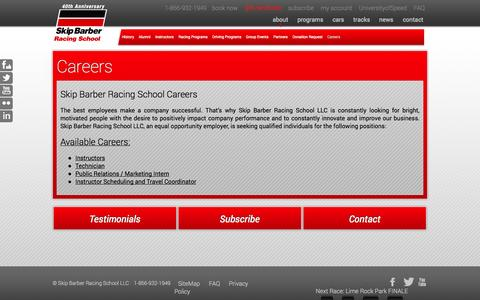 Screenshot of Jobs Page skipbarber.com - Careers «  Skip Barber Racing School - captured Oct. 9, 2014