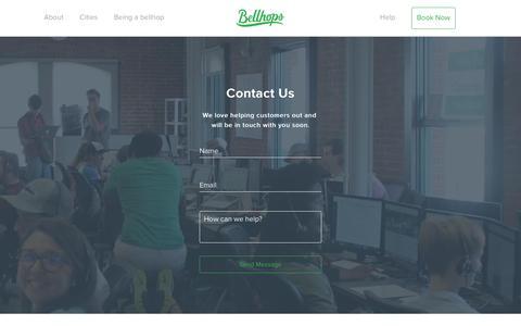 Screenshot of Contact Page getbellhops.com - Contact Us | Bellhops - captured Feb. 4, 2017