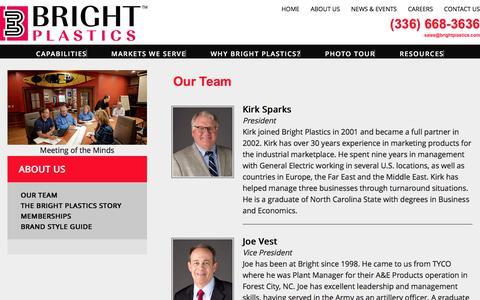 Screenshot of Team Page brightplastics.com - Our Team at Bright Plastics - captured Aug. 3, 2018