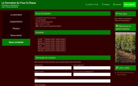 Screenshot of Contact Page domaine-four-a-chaux.com - Contactez Le Domaine du Four, Chaux à Thoré-la-Rochette - captured Dec. 1, 2018