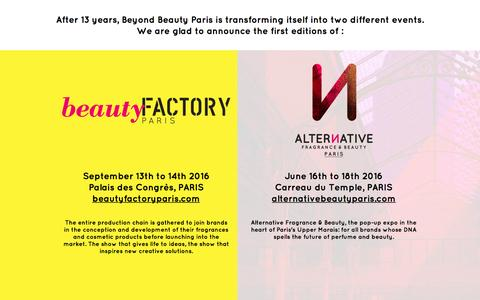 Screenshot of Home Page beyondbeautyevents.com - Beyond Beauty Paris - captured Feb. 4, 2016
