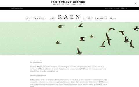 Screenshot of Jobs Page raen.com - Careers and Internships with RAEN - captured Dec. 5, 2016