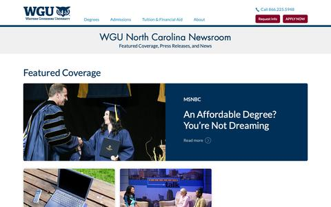 Screenshot of Press Page wgu.edu - Newsroom | WGU North Carolina - captured June 21, 2019