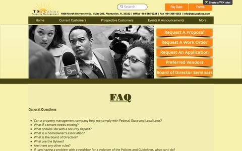 Screenshot of FAQ Page tdsunshine.com - TDSunshine Property Management Fort Lauderdale Broward County South FL | FAQ - captured Oct. 20, 2017