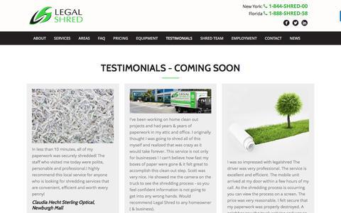 Screenshot of Testimonials Page legalshred.com - Testimonials - Legal Shred - captured Nov. 6, 2016
