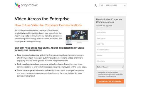 Screenshot of Landing Page brightcove.com - Brightcove | Video Across the Enterprise - captured March 26, 2018