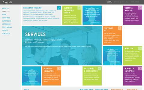 Screenshot of Services Page akendi.com - Service Design, UX Design Agency, Akendi: Canada, UK - captured July 8, 2018