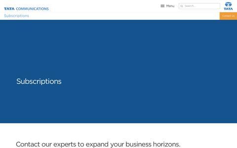 Screenshot of Pricing Page tatacommunications.com - Subscriptions   Tata Communications - captured Dec. 18, 2019