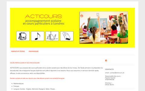 Screenshot of Home Page acticours.uk - Acticours   Cours particuliers et aide aux devoirs - captured Nov. 20, 2016