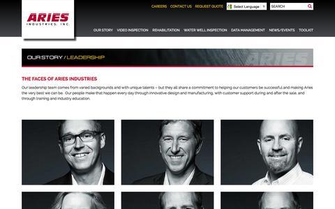 Screenshot of Team Page ariesindustries.com - Leadership - Aries Industries, INC. - captured Nov. 19, 2016