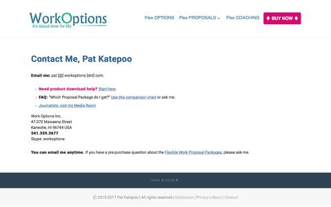 Screenshot of Contact Page workoptions.com - Contact Pat Katepoo of WorkOptions.com - captured Nov. 24, 2017