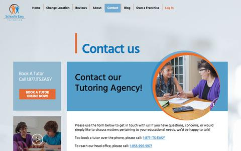 Screenshot of Contact Page schooliseasy.com - Contact our Canadian Tutoring Agency! - captured July 19, 2019