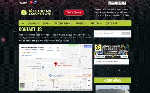 Screenshot of Contact Page evolutionsgraphics.com - Contact us Now for a free quote! at 305-541-1400 | 305-772-7258  - Evolutions Graphics & Designs - captured Oct. 21, 2018
