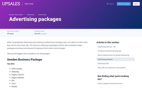 Screenshot of Support Page upsales.com - Advertising packages – Upsales Help Center - captured Nov. 6, 2019