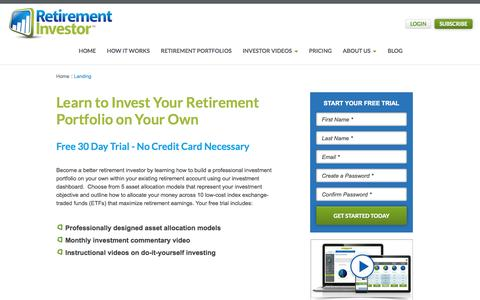 Screenshot of Trial Page retirementinvestor.com - Sign Up For Your Free 30 Day Trial No Credit Card Necessary - captured Nov. 3, 2014