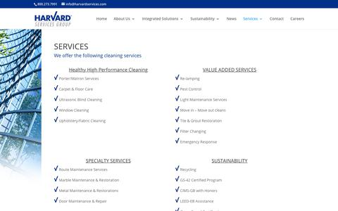 Screenshot of Services Page harvardsg.com - Services | HARVARD Services Group - captured March 16, 2019