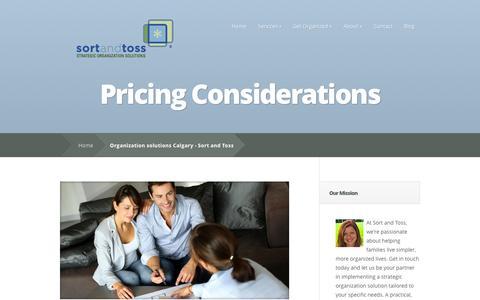 Screenshot of Pricing Page sortandtoss.com - Organization solutions Calgary - Sort and Toss | Sort and Toss - captured Oct. 25, 2014