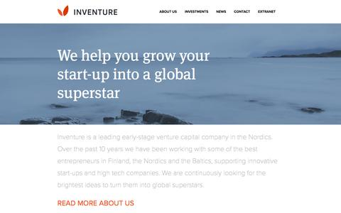 Screenshot of Home Page inventure.fi - Inventure - Venture Capital in Finland, the Nordics & the Baltics - captured July 22, 2016