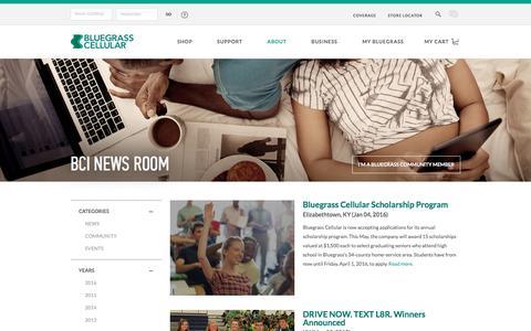Screenshot of Press Page bluegrasscellular.com - News - Bluegrass Cellular - captured Jan. 6, 2016