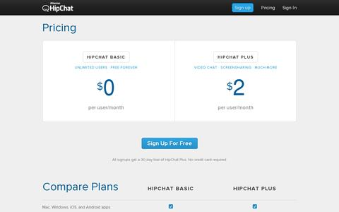 Screenshot of Pricing Page hipchat.com - HipChat - Pricing - captured July 20, 2014