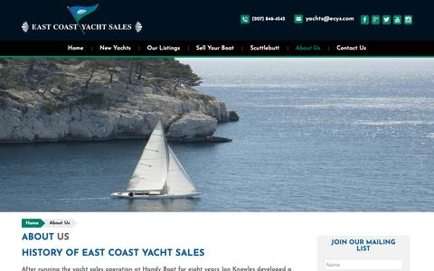 Screenshot of About Page ecys.com - About Us | East Coast Yacht Sales - captured Dec. 13, 2018