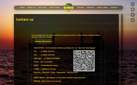 Screenshot of Contact Page ums.com.eg - Contact Us, CAPT Marwan Dahroug and Youssef, Marine Suppliers at Egypt - captured Oct. 3, 2014