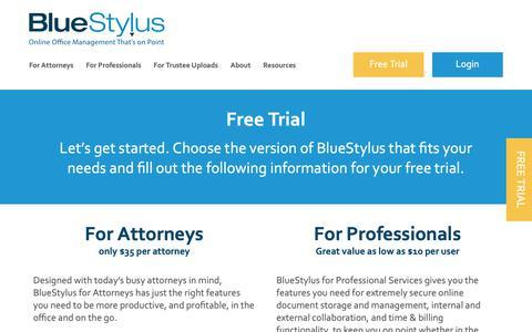 Screenshot of Trial Page bluestylus.com - Free Trial - BlueStylus - captured Nov. 6, 2018