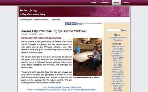 Screenshot of Blog primroseretirement.com - Senior Living - A blog about senior living at Primrose - captured Feb. 21, 2016