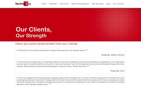 Screenshot of Testimonials Page technocry.com - Here are some testimonials from our clients: - captured Oct. 26, 2014