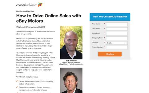 Screenshot of Landing Page channeladvisor.com - How to Drive Online Sales with eBay Motors | ChannelAdvisor - captured May 6, 2016