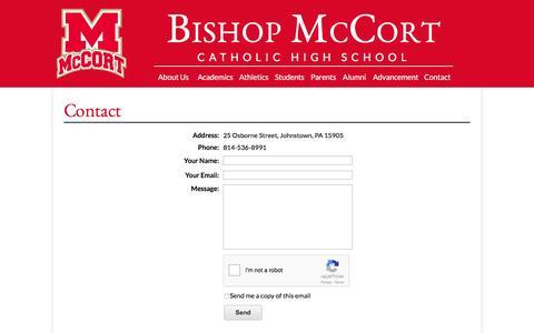 Screenshot of Contact Page mccort.org - Bishop McCort Catholic High School - captured Nov. 22, 2016